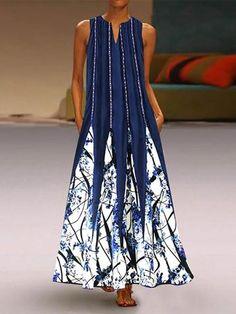 Vintage Printed V Neck Dress - Fashion & Dresses Casual Dresses, Fashion Dresses, Summer Dresses, Women's Fashion, Casual Clothes, Cheap Dresses, Fashion Styles, Ladies Dresses, Summer Maxi