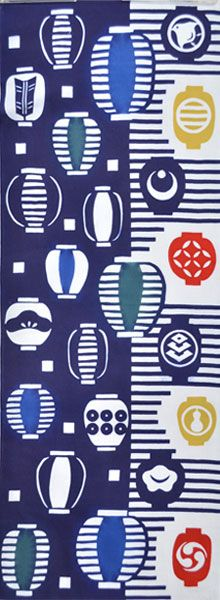 Japanese washcloth, Tenugui 【カヤ】注染手ぬぐい「提灯(ちょうちん)」