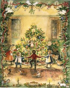 Vintage Christmas Card, Dance around the tree -- Tasha Tudor