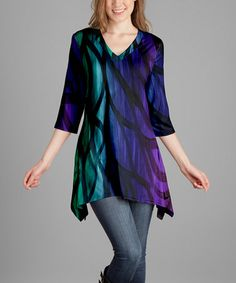 Another great find on #zulily! Purple & Green Abstract V-Neck Tunic - Plus Too by Lily #zulilyfinds