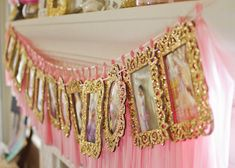 Gold Glitter Frames for Birthday Timeline