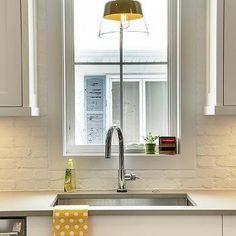 White Painted Brick Kitchen Backsplash, Transitional, Kitchen                                                                                                                                                      More