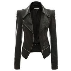 Rotita Black Faux Leather Power Shoulder Biker Motorcycle Jacket