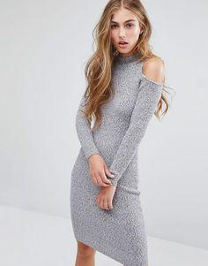 Miss Selfridge Cold Shoulder Rib Bodycon Dress