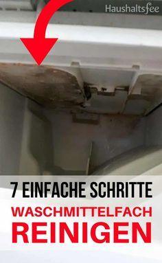 Die Waschmittelschublade ist von Waschpulver und Weichspülerresten verklebt? Sie stinkt und ist voll Schimmel? So kannst du das Waschmittelfach reinigen.