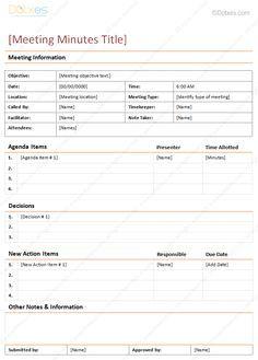 Church Meeting Minutes TemplatesChurch Business Meeting Minutes