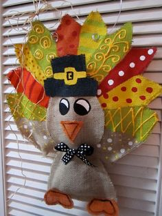 Thanksgiving Turkey Burlap Door Hanger Door by nursejeanneg http://diycrafts2013.tumblr.com/post/66382199025/how-to-tie-a-tie-3-ways-diy