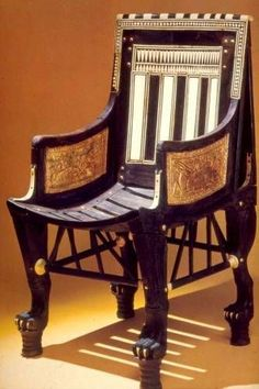 Ancient Egyptian Furniture: Pictures Shows bracketing and also unidirectional animal feet with risers. Because of its small scale (less than thirty inches high), this wooden chair was considered by Carter to have been used by Tutankhamun as a child. Ancient Beauty, Ancient Art, Ancient History, Ancient Egyptian Artifacts, Egyptian Furniture, Egypt Art, Archaeology, Art Nouveau, Modern