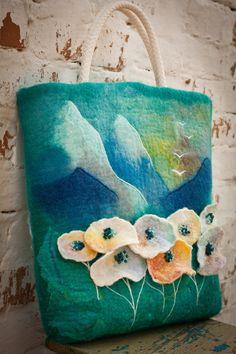 Felted Bag Handbag Purse Felt Nunofelt Fiber by Feltsongs (poppies)