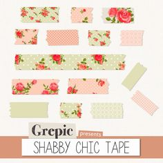 Digital Washi Tape SHABBY CHIC TAPE washi tape roses by Grepic