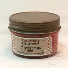 Heritage Falls Candles Country Christmas Mini Soy Candle: This #1 holiday scented candle has aromas of cinnamon spices and festive greenery. Red in color.    These make great stocking stuffer or just a little something to add to that special gift. The mini candle provides 25-30 hours of burn time before you're off to try the next new scent.    Price: $5.49