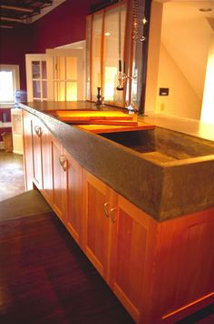 Concrete kitchen countertops and sink
