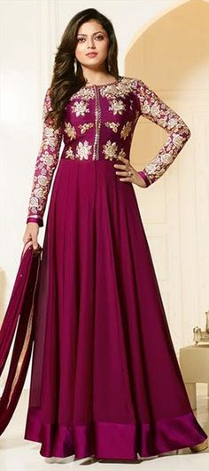 479579 Pink and Majenta  color family Bollywood Salwar Kameez in Faux Georgette fabric with Machine Embroidery, Thread work .