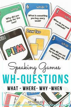 practice wh questions: what, when , why, where Icebreaker Activities, Kindergarten Activities, Learning Activities, English Vocabulary Games, Grammar And Vocabulary, First Day Of School Activities, Summer Activities, Teacher Must Haves, Teachers Aide