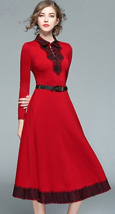Fashion Red Turn Down Collar Lace Patchwork Maxi Dress
