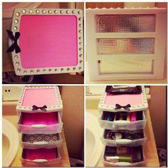 spruced up makeup storage!
