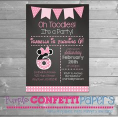 Minnie Mouse birthday invitation, Minnie Birthday Invitation, Minnie Mouse Sixth Birthday, 6th, Chalkboard, 6, Minnie Printable Invitation by PurpleConfettiPapers on Etsy https://www.etsy.com/listing/505447085/minnie-mouse-birthday-invitation-minnie