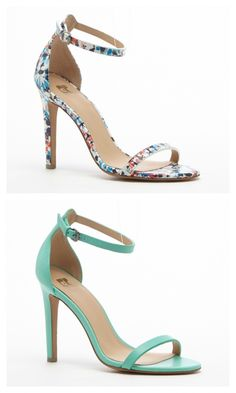 Minimalist high heel sandals in mosaic and seafoam green. Perfect for summer weddings and parties.