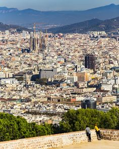 Sagrada Família in the distance Barcelona Catalonia Spain  www.alamy.com/image-details-popup.asp?ARef=FWCDMD  #view #spain #urban #travel #skyline #city #europe #barcelona #building #tourism #architecture #cityscape #catalonia #landmark #european #sky #spanish #blue #aerial #landscape #exterior #sightseeing #above #church #town #sagrada #sight #familia #cathedral #metropolitan