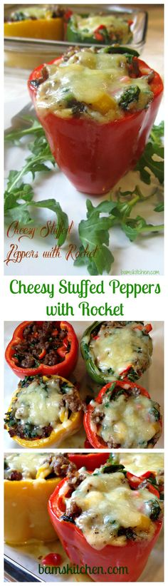 Cheesy Stuffed Peppers with Rocket. Low Carb, Gluten-Free and on your table in 30 minutes/ Bam's Kitchen
