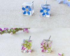 Real flower earrings Forget me not Flower studs Terrarium jewelry Resin flower jewelry Geometric earrings Botanical earrings Heather