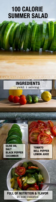Tangy savory tomato, cucumber, bell pepper salad under 100 calories. 100 Calorie Meals, No Calorie Snacks, Low Calorie Recipes, Diet Recipes, Cooking Recipes, Healthy Recipes, Healthy Cooking, Healthy Snacks, Healthy Eating