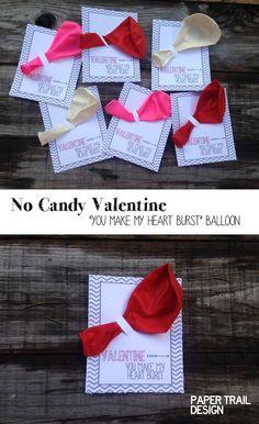 Balloon Valentine Printable DIY Valentine for school valentine exchanges. Easy Valentine idea for kids valentine. Even cuter with heart shaped balloons!