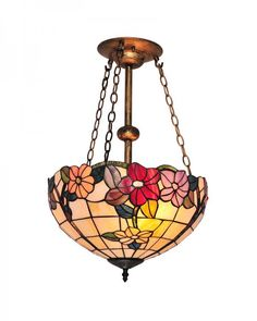 Tiffany Style Chandelier Lighting with Multi-colored Flowers Pattern Stained Glass