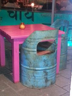 Recycled oil drums into garden furniture