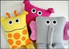 Giraffe, Elephant & Hippo Pillows | YouCanMakeThis.com