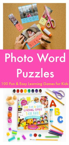 Fun and simple photo word puzzles :: learn to write your name activity :: visual spelling activity :: great self-correcting sight word center