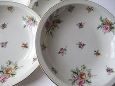 Soup Bowls Meito China Garden Rose Floral Rimmed by thechinagirl