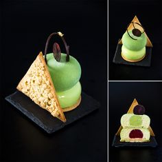 "Individual cake ""Tiana"" (Disney's cartoons ""The Princess and the Frog""). Composition: lemon sponge cake; lemon pate sucre; crumble; lemon-avocado mousse; guacamole (avocado with lemon), strawberry jelly."