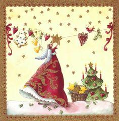 weihnachten illustration Plus - Christmas Angels, Christmas Art, Winter Christmas, All Things Christmas, Vintage Christmas, Art Et Illustration, Christmas Illustration, Art Fantaisiste, Art Carte