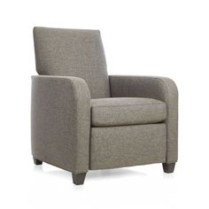 Classic club chair is destined to be the most sought-after seat in the house.  Upholstered in warm tweedy grey, Royce has a smooth sweep to its lines and a casual alter ego that leans back and stretches out into full relaxation, complete with elevated footrest.  Plump tight back and deep seat cushion provides sink-in comfort to relax with a great book, savor a single malt or watch the big game. After you place your order, we will send a fabric swatch via next day air for your final approval.