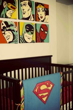 Baby Super Hero Nursery Theme - Superman and Friends Represented. Adorable if we ever decide another baby is in the cards. This is Joey's dream.
