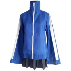 Blue Halloween Cosplay Enomoto Takanon ENE Japanese Costume (£26) ❤ liked on Polyvore featuring costumes, blue, cosplay costumes, role play costumes, blue costume, blue halloween costume and cosplay halloween costumes