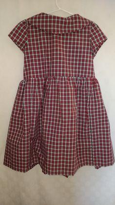Highland Fling: Little Girls Tartan Full gathered skirt S 5 Red, White, Green full skirt & cap sleeves Flattering rolled collar
