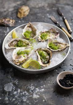 oysters with spicy cucumber & lime granita - eat Raw Food Recipes, Fish Recipes, Seafood Recipes, Appetizer Recipes, Cooking Recipes, Healthy Recipes, Fish Dishes, Seafood Dishes, Fish And Seafood