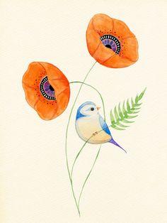 Orange Blossom - Blue Tit Songbird with Poppies #england