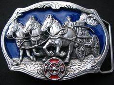 OLD HORSE CARRIAGE AMERICAN FIREFIGHTER BELT BUCKLES FD FIREMAN HORSE WAGON BELT BUCKLE
