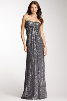 This is something you could just have in your closet.... La Femme Strapless Sequin Gown on HauteLook