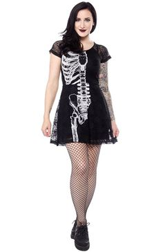 Add a little edge to your look! This popular wishbone print has been revived on a new stretch lace dress with cap sleeves, flared skirt, and cinched waist! It has a sheer lace back but the rest of the dress is lined with a soft jersey rayon. Sourpuss Clothing, Iron Fist, Lace Back, Stretch Lace, Flare Skirt, Cap Sleeves, Lace Dress, Super Cute, Virtual Closet