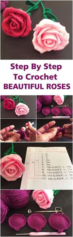 Step By Step To Crochet Beautiful Roses