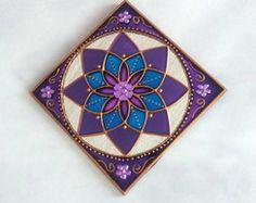 Mandala lilás e Azul em espelho 10x10