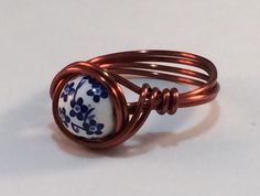 Wire wrapped ring handmade flower bead ANY SIZE #Handmade #Beaded