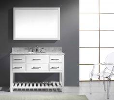 Virtu USA - MS-2248-WMRO-WH-002 - Caroline Estate 48 in. Bathroom Vanity Set Close up Detail