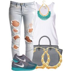 I love this I would add blue leggings if I was going to run with those shoes bot other wise I would wear the jeans