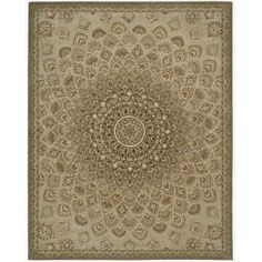 Traditional Nourison 2000 Hand-tufted Multicolored Floral Sunburst 100-Percent Wool Rug