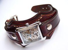 Leather Watch Cuff Leather WristWatch Steampunk by loversbracelets